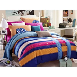 Stripe Design Concise 4-Piece Duvet Cover Sets