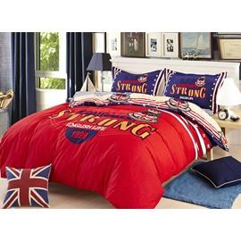 Vintage British Style Red 4-Piece Duvet Cover Sets