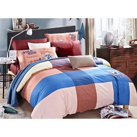 Concise Colorful Gingham 4-Piece Cotton Duvet Cover Sets