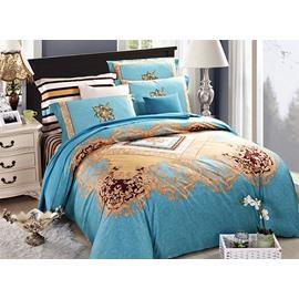 Light Blue European Jacquard Style 4-Piece Cotton Duvet Cover Sets