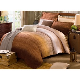 Fashion Contracted Style Brown Cotton 4-Piece Duvet Cover Sets