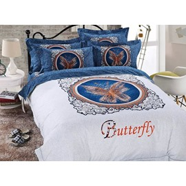 Concise Butterfly Print European Style 4-Piece Duvet Cover Sets