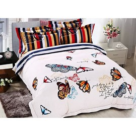 Elegant Colorful Flying Butterflies Print White 4-Piece Cotton Duvet Cover Sets