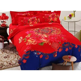 Bright Red Flowers Reactive Printing Cotton 4-Piece Duvet Cover Sets