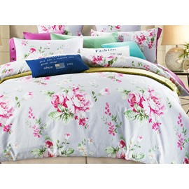 100% Cotton Pretty Pink Peonies Print 4-Piece Duvet Cover Sets