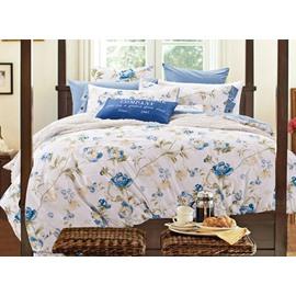 Elegant Blue Flowers Print 100% Cotton 4-Piece Duvet Cover Sets