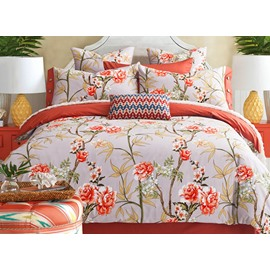 Bright Pastoral Style Orange Flowers Printing 4-Piece Cotton Duvet Cover Sets