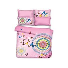 Gorgeous Butterflies Jacquard Design Sweet Pink 4-Piece Cotton Duvet Cover Sets