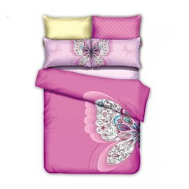Beautiful Butterfly Print Pink Cotton 4-Piece Duvet Cover Sets