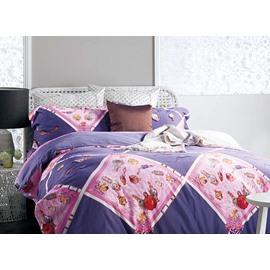 Likable Cartoon Bottles Pattern Rhombus Purple 4-Piece Cotton Duvet Cover