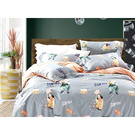 Modern Concise Cartoon Animals Pattern 4-Piece Duvet Cover Sets