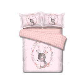Super Cute Pink Deer Image 100% Cotton 4-Piece Duvet Cover Sets
