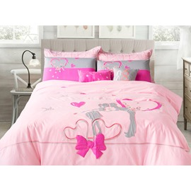Chic Elegant Romantic Love Cotton 4-Piece Duvet Cover Sets