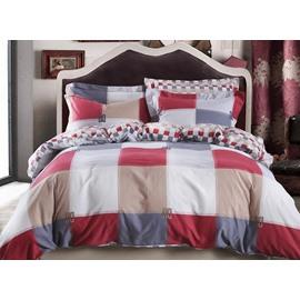 Noble Modern Plaid Cotton 4-Piece Duvet Cover Sets