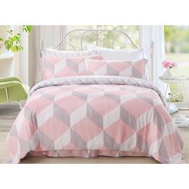Fancy Pink Cube Pure Cotton 4-Piece Duvet Cover Sets