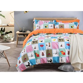 Dreamy World Cartoon Pattern Cotton 4-Piece Duvet Cover Sets