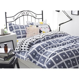 Popular Concise Plaid and Polka Dot Cotton 4-Piece Duvet Cover Sets