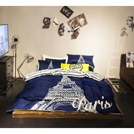 Modern Eiffel Tower Cotton 4 Pieces Bedding Sets