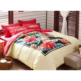 Pretty Flowers and Grasses 4 Pieces Bedding Sets