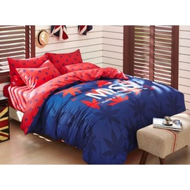Romantic Red Maple Leaf 4 Pieces Bedding Sets