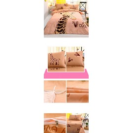 Lovely Pink Giraffe Printed 4-Piece Duvet Cover/Bedding Sets