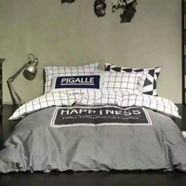 Simple Happiness Printing 4-Piece Duvet Cover Sets