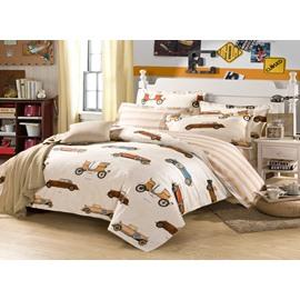 A Variety Of Cartoon Car 4-Pieces 100% cotton Bedding Sets