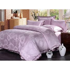 Graceful Violet Peonies Jacquard 4-Piece Bamboo Fabric Bedding Set