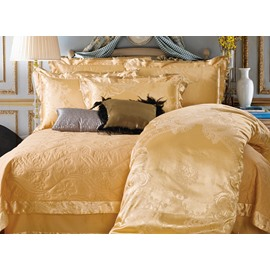 Golden Yellow Plush Courtly Style Jacquard 4-Piece Bamboo Fabric Bedding Set