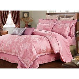 Soft Pink Big Roses Jacquard 4-Piece Bamboo Fabric Bedding Set