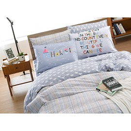 Cozy Concise Style Gray Cotton 4-Piece Duvet Cover Sets