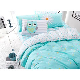 High-grade Zodiac Pattern Blue 4-Piece Cotton Duvet Cover Sets