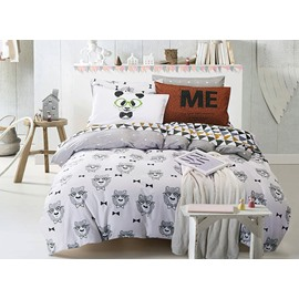 Lovely Cartoon Bear Print White Cotton 4-Piece Bedding Sets/Duvet Cover
