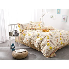 Full Size Cartoon Figures Light Yellow Cotton 4-Piece Bedding Sets/Duvet Cover