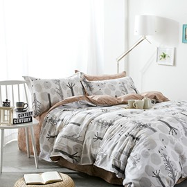 Full Size Tree Branches Pattern White Cotton 4-Piece Bedding Sets/Duvet Cover