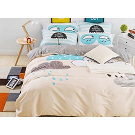 Cartoon Expression and Rains Printed Cotton 4-Piece Bedding Sets/Duvet Cover