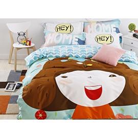 New Arrival Cute Cartoon Girl Print 4-Piece Duvet Cover Sets