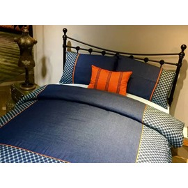 Simple Design Blue Cotton 5-Piece Duvet Cover Sets