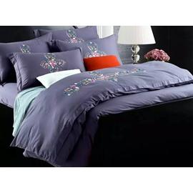 Chic Flower Rattan Design Purple 4-Piece 100% Cotton Duvet Cover Sets