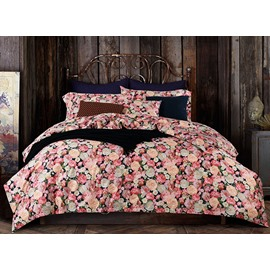 Luxurious Flowers Print 4-Piece 100% Cotton Duvet Cover Sets