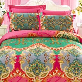 Elegant Retro Big Flowers 4-Piece Cotton Duvet Cover Sets