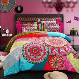 Bohemian Exotic Vintage Boho Style Cotton 4-Piece Bedding Sets/Duvet Cover