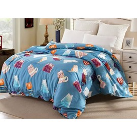 Cartoon Cats and Mice Pattern Blue Cotton 4-Piece Bedding Sets/Duvet Cover