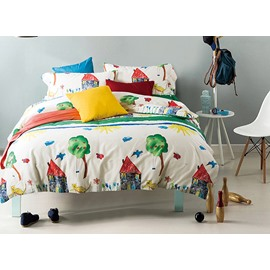 Simple Minimalism Style Unique Pattern 4-Piece Cotton Duvet Cover Sets