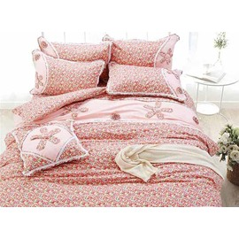 100% Cotton Personalized Hand-Appliqued Pink 4-Piece Duvet Cover Sets