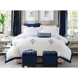 Excellent Embroidery Blue Trim White Background 4 Pieces Cotton Bedding Sets