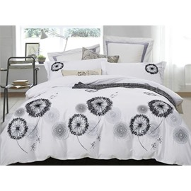 Creative Design Dandelions Embroidery White 4-Piece Cotton Bedding Sets