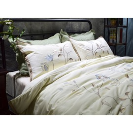 Graceful Fresh Flower Embroidery White 4-Piece Cotton Duvet Cover Sets
