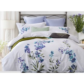 Wonderful Adorable Flower Embroidery White 4-Piece Cotton Duvet Cover Sets