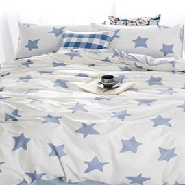 Fantastic Blue Star Print White 4-Piece Cotton Duvet Cover Sets